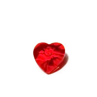 Pandantiv sticla, multifete, rosu, inima 10x10x5mm 1 buc