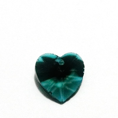 Pandantiv sticla, multifete, verde-smarand, inima 14x14x8mm 1 buc