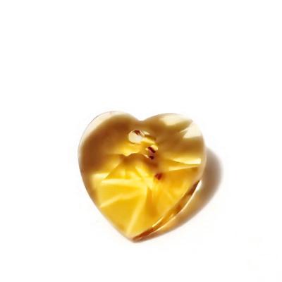 Pandantiv sticla, multifete, maro-auriu, inima 14x14x8mm 1 buc