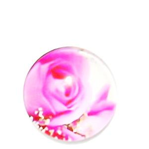 Cabochon sticla, cu flori, 20mm, model 36 1 buc