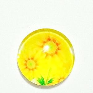 Cabochon sticla, cu flori, 20mm, model 37 1 buc