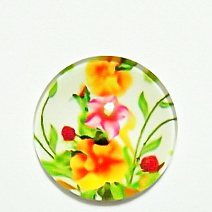 Cabochon sticla, cu flori, 20mm, model 38 1 buc