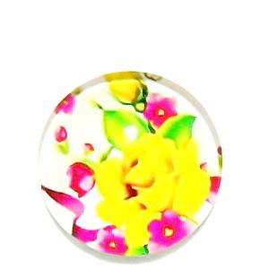 Cabochon sticla, cu flori, 20mm, model 39 1 buc