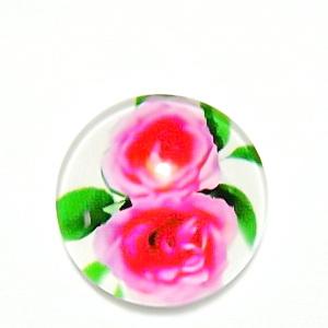 Cabochon sticla, cu flori, 20mm, model 41 1 buc