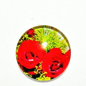 Cabochon sticla, cu flori, 20mm, model 43 1 buc