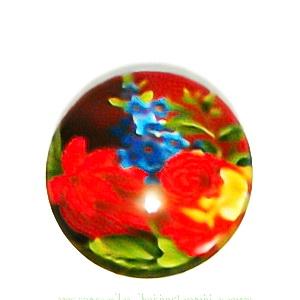 Cabochon sticla, cu flori, 20mm, model 44 1 buc