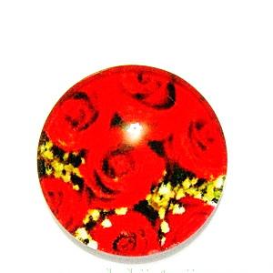 Cabochon sticla, cu flori, 20mm, model 45 1 buc