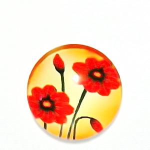 Cabochon sticla, cu flori, 20mm, model 46 1 buc
