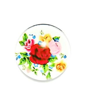 Cabochon sticla, cu flori, 20mm, model 48 1 buc