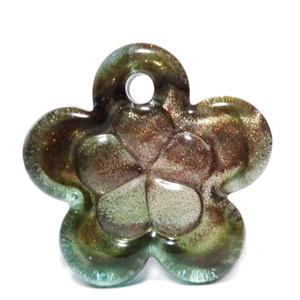 Pandantiv Murano, rosu si glitter auriu, 40x12mm 1 buc