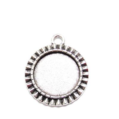 Baza cabochon, argint tibetan, pandantiv 30x25mm, interior 18mm 1 buc