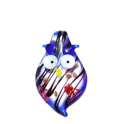 Pandantiv sticla cu foita argintie, albastru, bufnita 52x32x10mm 1 buc