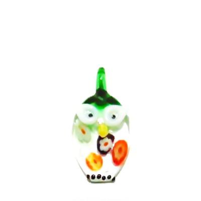 Pandantiv Murano, verde-multicolor, bufnita, 28x20x7 mm 1 buc