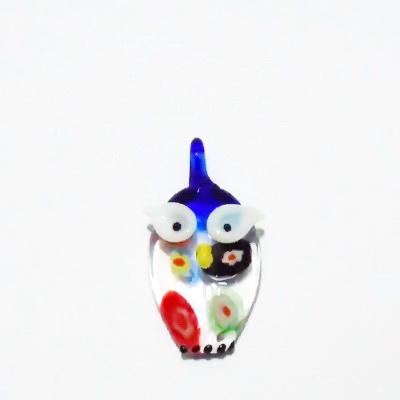 Pandantiv Murano, albastru-multicolor, bufnita, 28x20x7 mm 1 buc