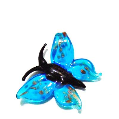 Pandantiv Murano, bleu, fluture 56x45x10 mm 1 buc