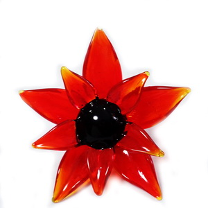 Pandantiv sticla Lampwork, floare rosie, 63x30mm 1 buc