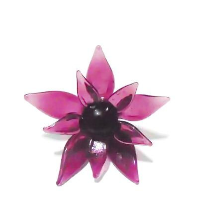 Pandantiv sticla Lampwork, floare mov, 63x30mm 1 buc