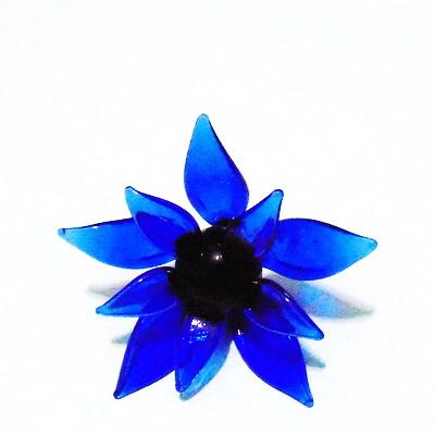 Pandantiv sticla Lampwork, floare albastra, 63x30mm 1 buc