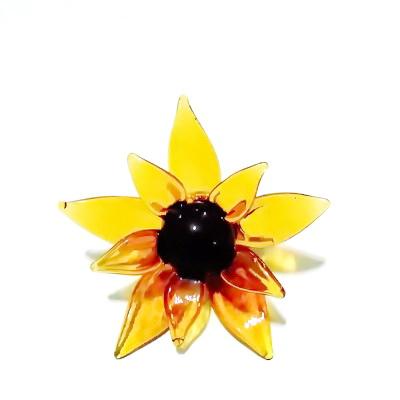 Pandantiv sticla Lampwork, floare portocalie, 63x30mm 1 buc