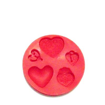 Set accesorii fimo, cauciuc,  forme inimi 1 buc