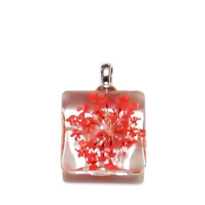 Pandantiv sticla, patrat, 20mm, interior floare rosie 1 buc