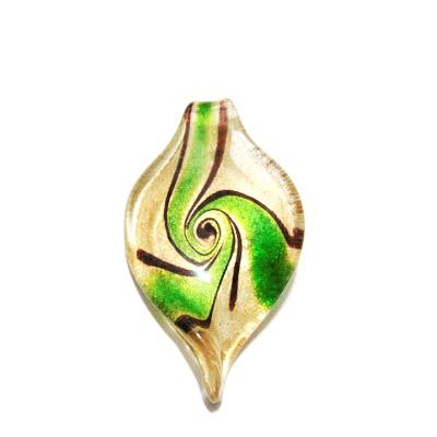 Pandantiv Murano, frunza, verde cu auriu, 59x31x10mm 1 buc
