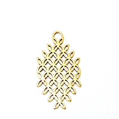 Pandantiv filigran, auriu-antic, rombic, 45x24x1.5mm 1 buc