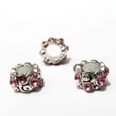 Margele tibetane, stil Pandora, 11x8mm, strasuri roz 1 buc