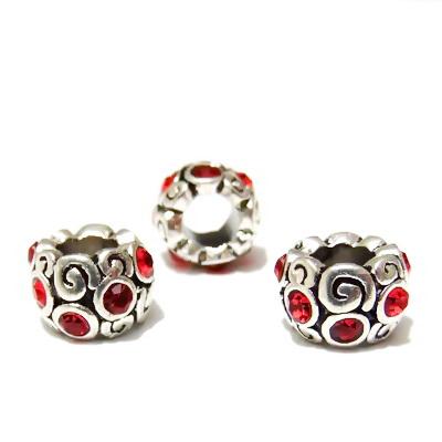 Margele tibetane, stil Pandora, 11x8mm, strasuri rosii 1 buc