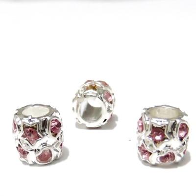 Margele tibetane, stil Pandora, 10x10mm, cu strasuri inimioare si stele roz 1 buc