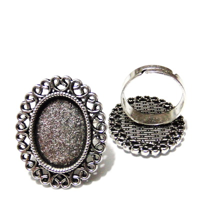 Baza inel, reglabila, argintiu antichizat, platou 29x24mm, pt. cabochon 18x13mm  1 buc
