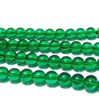 Margele sticla, verde-smarald, 8mm 10 buc