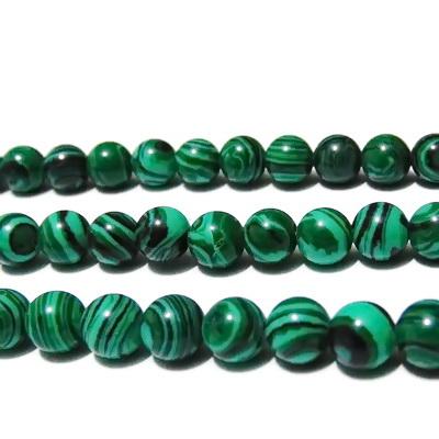 Malachit de sinteza, sferic, verde, 6mm 1 buc