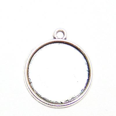 Baza cabochon, argint tibetan, pandantiv 24x20mm, interior 18mm 1 buc