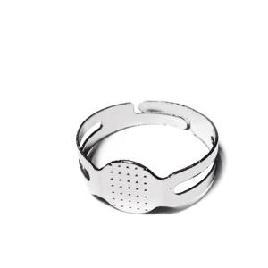 Baza inel argintiu inchis,marime ajustabila 18mm, platou 8mm 1 buc
