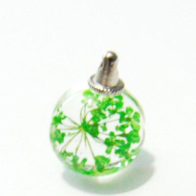 Pandantiv sticla, sferic, 20x15mm, interior floare verde 1 buc