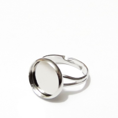 Baza inel, argintiu inchis, interior 18mm,baza cabochon 12mm 1 buc