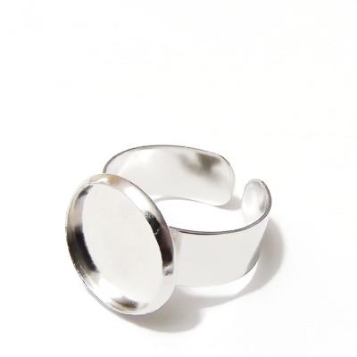Baza inel, argintiu inchis, interior inel 20mm, baza cabochon 14mm 1 buc