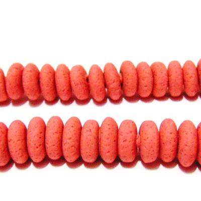 Margele polymer, rondel, roz-somon, 8~9x3~4mm 1 buc