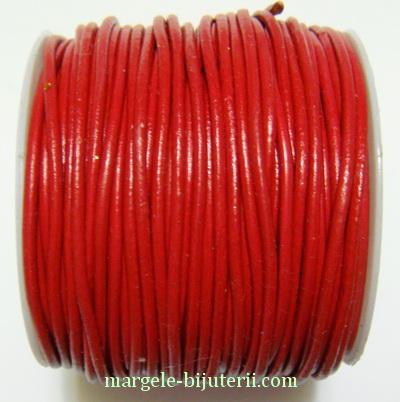 Snur piele naturala, rosu, 1.5mm 1 m