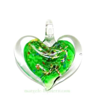 Pandantiv Murano, transparent cu interior verde, 47x45mm 1 buc