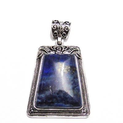 Pandantiv tibetan, cabochon lapis lazuli trapez 20~30x35mm 1 buc