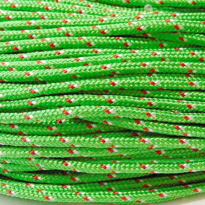 Snur paracord, verde-lime cu rosu si alb, 4mm 1 m