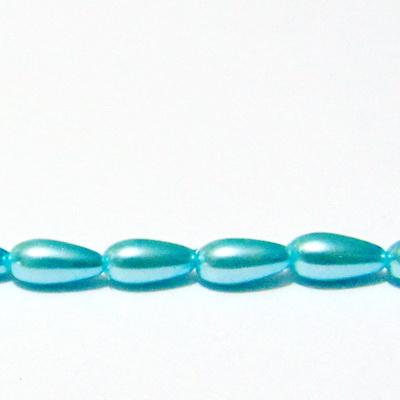 Perle sticla, bleu, lacrima 8x4mm 1 buc