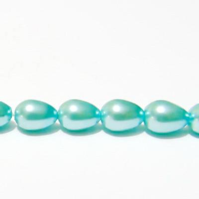 Perle sticla, bleu, lacrima 8x6mm 1 buc