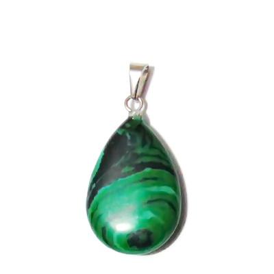Pandantiv malachit de sinteza verde, plat, lacrima 26x16x6mm 1 buc