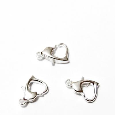 Inchizatoare argintie, inimioara 10x7x2.5mm 1 buc