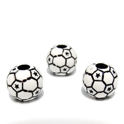 Margele plastic albe cu negru, stil minge fotbal, 12mm 1 buc