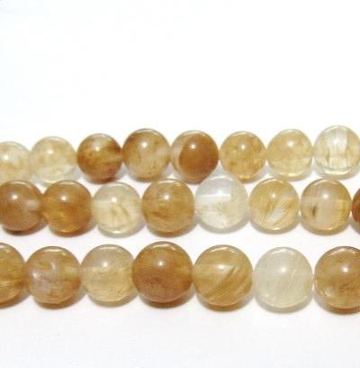 Cuart galben-maroniu, sferic, 8,5mm 1 buc