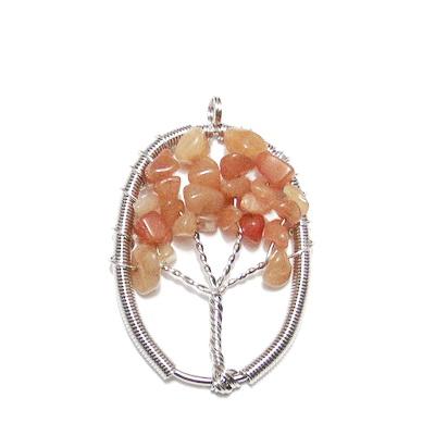Pandantiv oval, cu chips aventurin rosu, copacul vietii, 57x36x3.5mm 1 buc